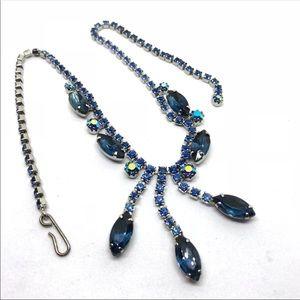 🆕Vintage Blue Navette Rhinestone Necklace